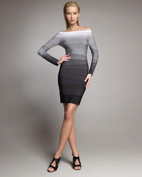 Ombre Off-The-Shoulder Bandage Dress