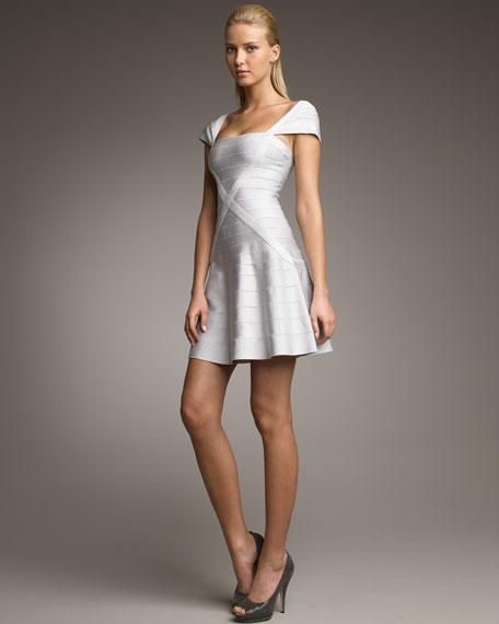 A-Line Cap-Sleeve Bandage Dress