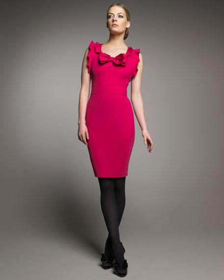 Jersey Ruffle-Trim Dress,Dress, Fuchsia