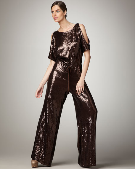 Pascale Short-Sleeve Sequined Jumpsuit