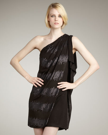 One-Shoulder Sequin-Stripe Dress