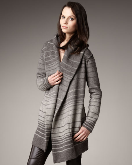 Striped Sweater Coat, Taupe