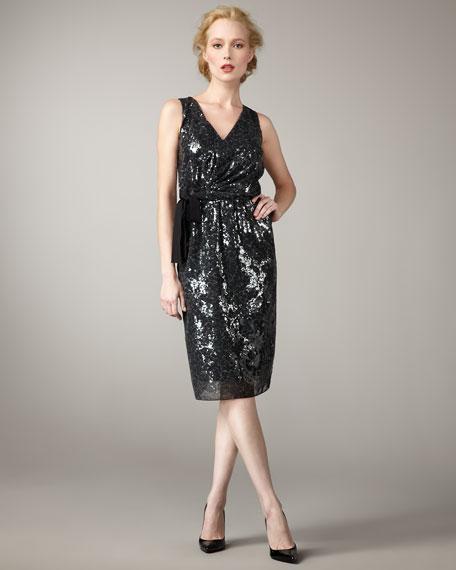 Tia Sequined Tie-Waist Dress