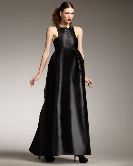 Button-Front Empire Gown