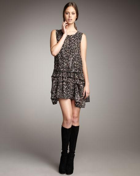 Flame-Print Silk Dress