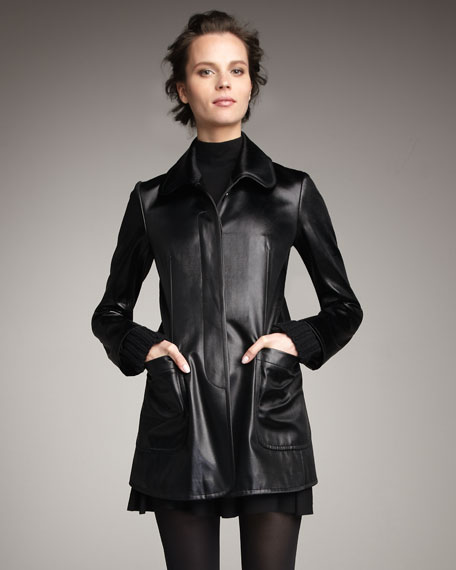 Ladylike Faux-Leather Coat