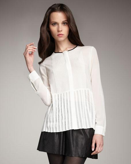 Pintuck Silk Shirt