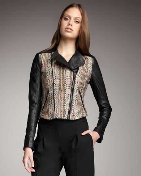 Tweed & Leather Combo Jacket