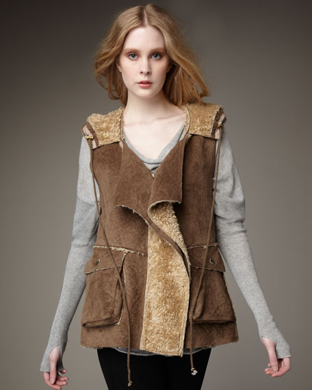 Faux-Suede Hooded Vest