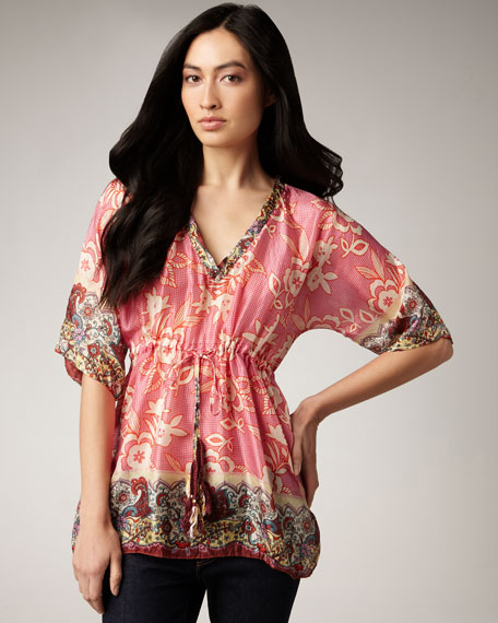 Printed Silk Blouse, Women's