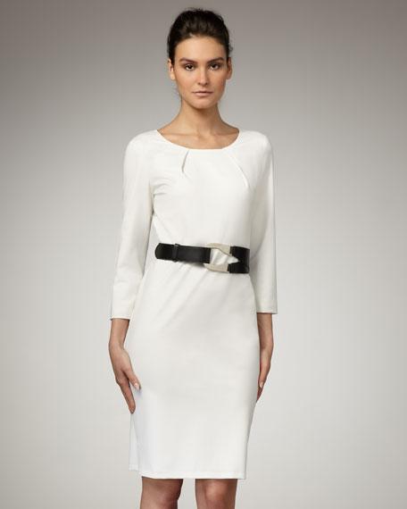 Pleated-Neckline Sheath Dress