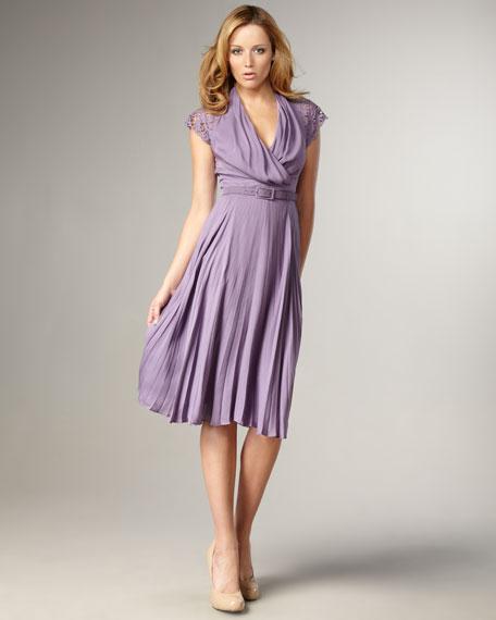 Cap-Sleeve Pleated Dress