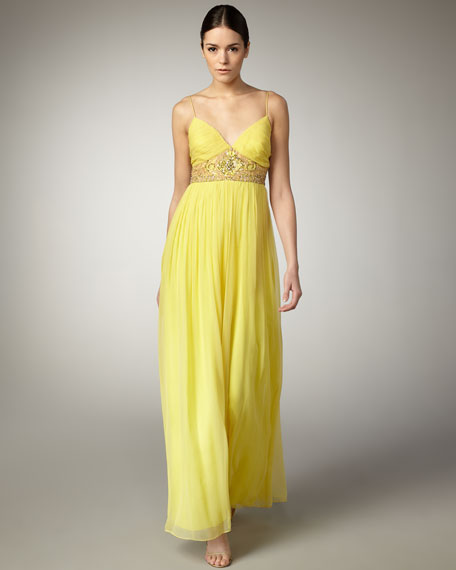 Beaded-Waist Chiffon Gown