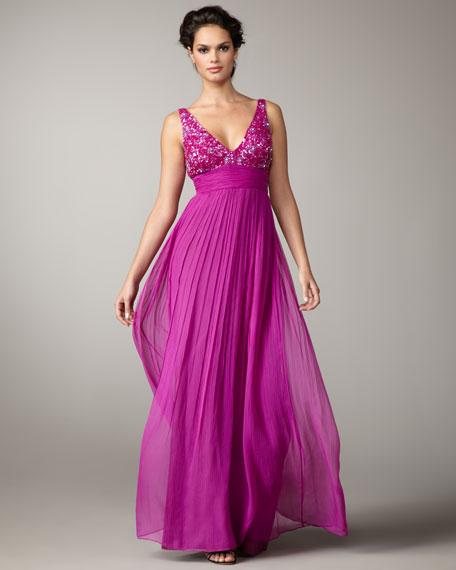 Beaded-Bodice Gown, Purple