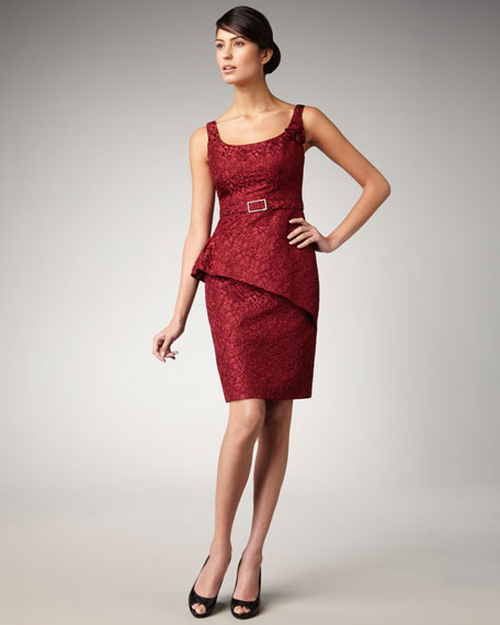 Belted Brocade Dress