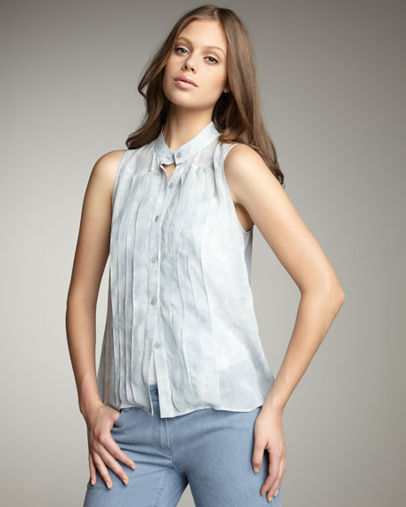 TheoryPintuck Sleeveless Blouse