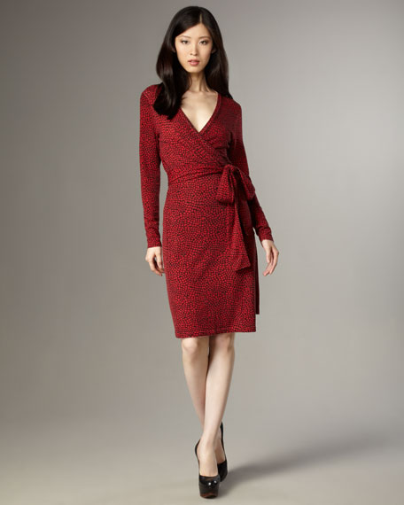 Linda Wrap Dress, Red Mosaic