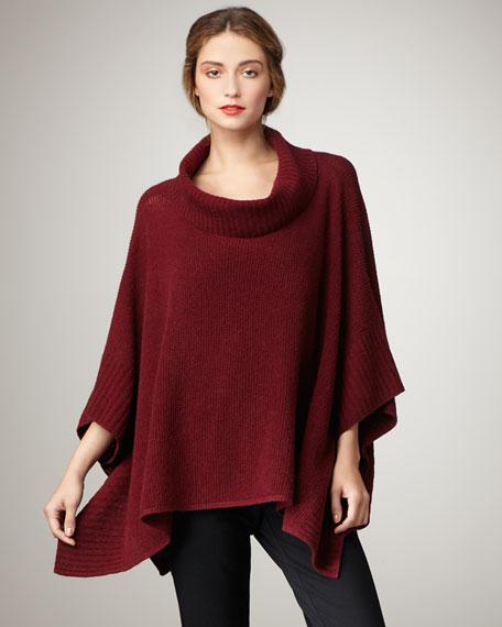 Ribbed-Knit Poncho, Women's