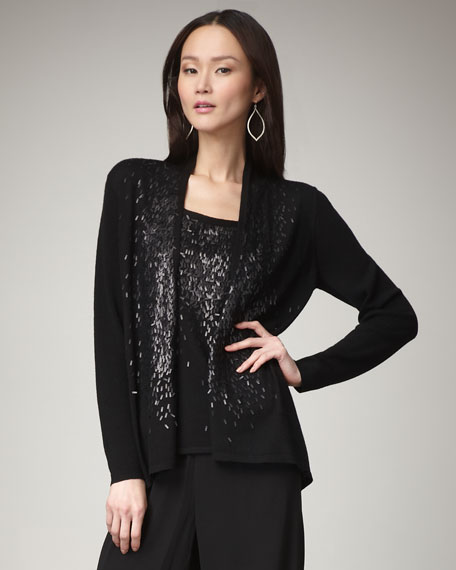 Feathered-Sequin Cardigan