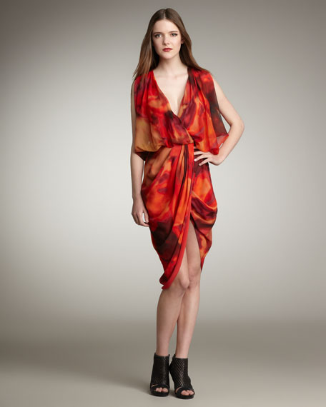 Draped Printed Chiffon Dress