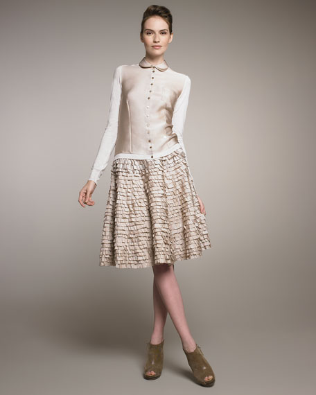 Tiered Pleated Silk Skirt