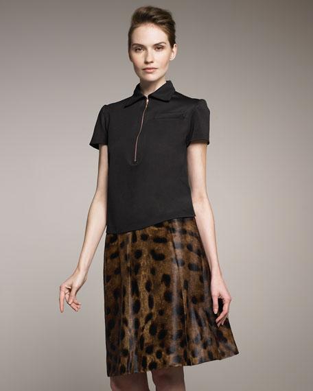 Leopard-Print Leather Skirt