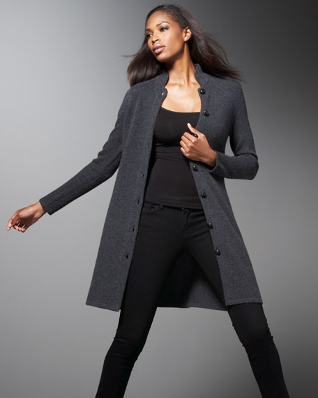 Long Mandarin-Collar Cardigan