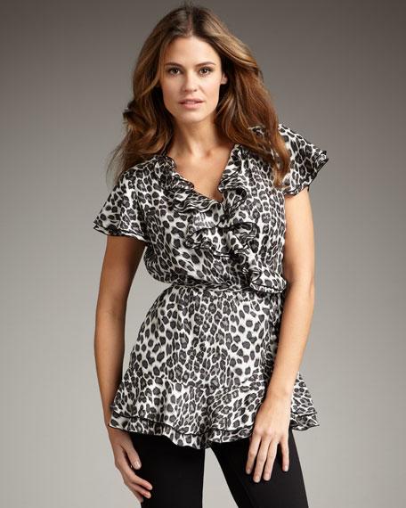 Leopard-Print Wrap Top