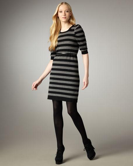 Autumn Cashmere Puff-Sleeve Striped Dress