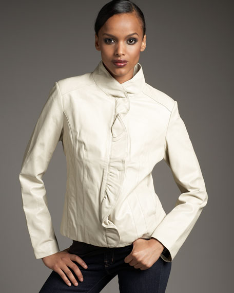 Ruffle-Placket Leather Jacket