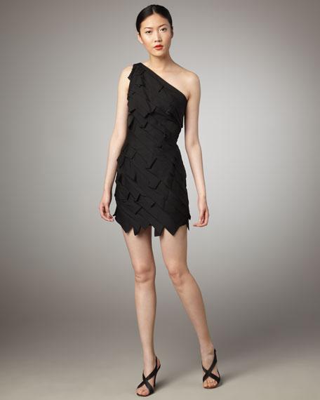 Faye One-Shoulder Dress, Black