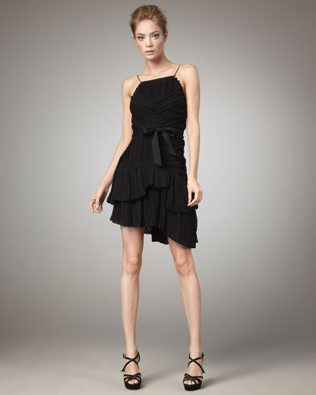 Lynda Pleated Dress, Black
