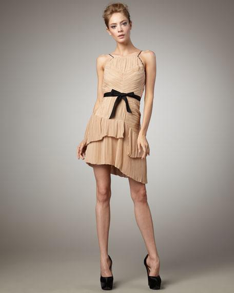 Lynda Pleated Dress, Sand