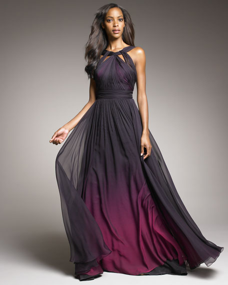 Shirred Ombre Gown
