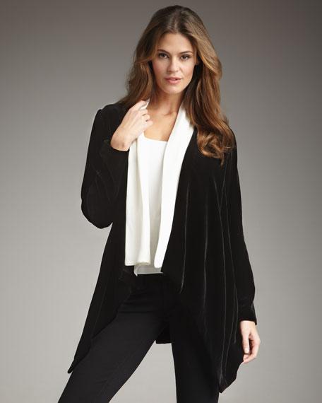 Contrast-Collar Velvet Jacket