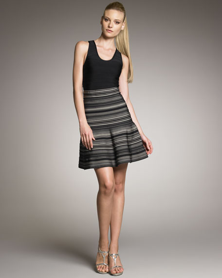 Striped Bandage Fit-and-Flare Skirt