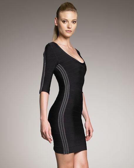 Contrast-Side Bandage Dress