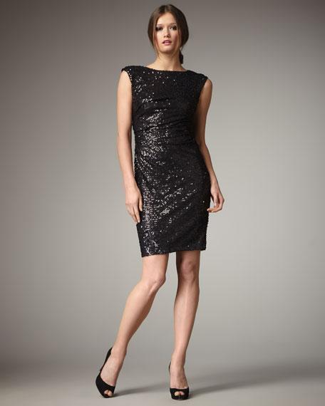 Sequined Cap-Sleeve Dress
