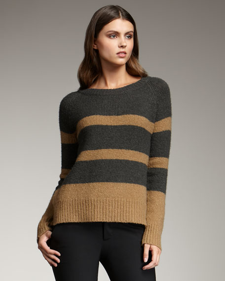 Colorblock Knit Sweater, Camel/Charcoal