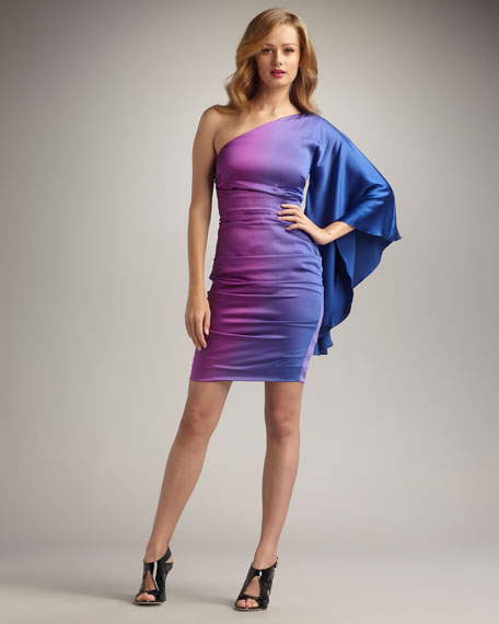 One-Sleeve Ombre Cocktail Dress