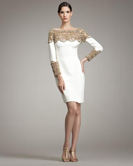 Embroidered-Yoke Dress