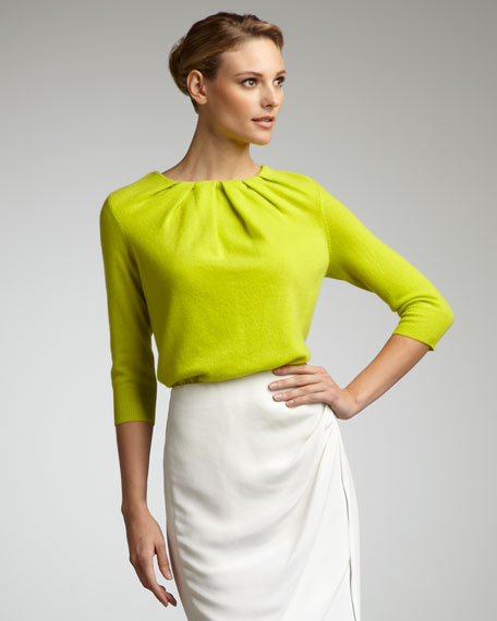 Pleat-Neck Cashmere Sweater