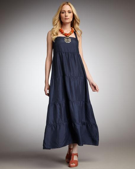 Tiered Silk Maxi Dress