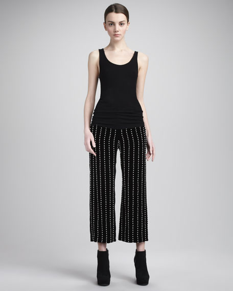 Pearl-Stripe Velvet Pants