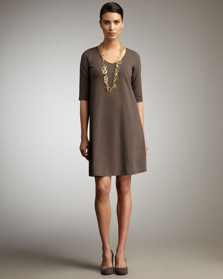 V-Neck Jersey Dress, Petite