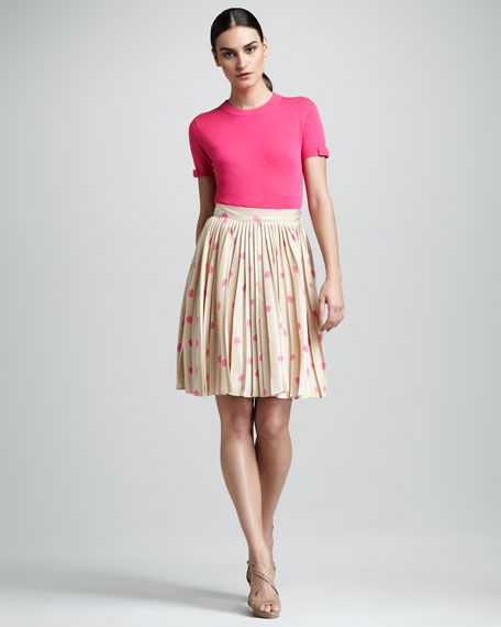 melody pleated polka-dot skirt