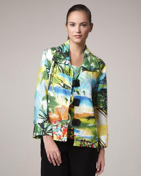 Island-Print Boxy Jacket, Women's