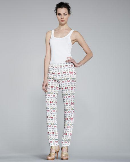 Skinny Butterfly-Print Pants