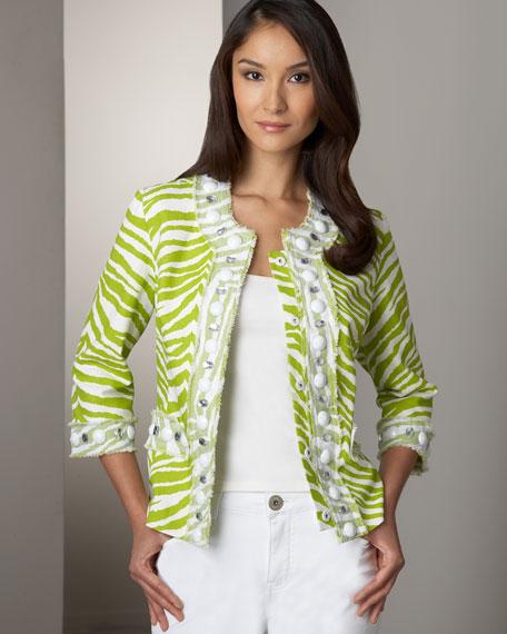 Zebra-Print Jacket, Petite