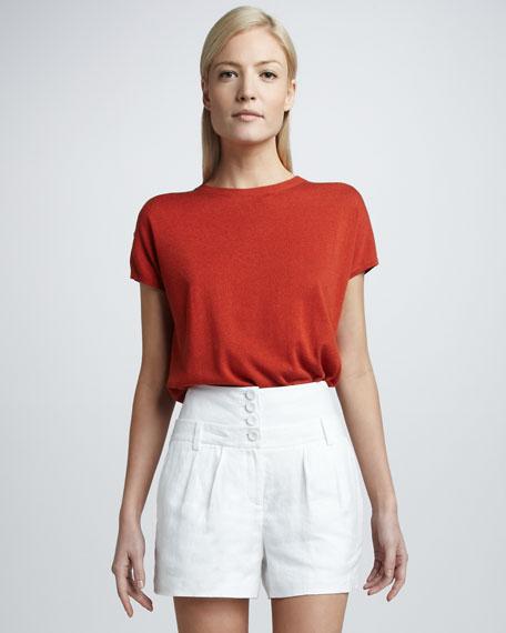 High-Waist Linen Shorts